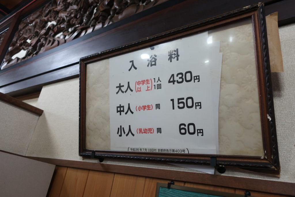 京都船岡温泉 利用料金(入浴料)